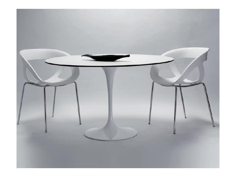 Saturno cod. 107 cod. 116, Tavolino tondo con base in alluminio verniciato