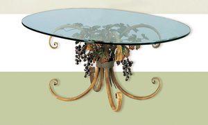 T.5190/4/T, Tavolo ovale con piano in vetro, decorazione autunnale