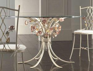 T.5470/6, Tavolo in ferro battuto con piano in vetro