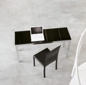 dl50 parigi, Tavolo design per ufficio, in alluminio e cristallo