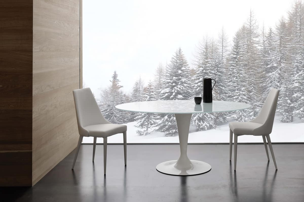 Art. 618 Bramante, Tavolo tondo in vetro temperato extrawhite