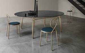 Botany Dining Table, Tavolo da pranzo con piano in vetro