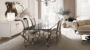 George tavolo, Tavolo con gambe in alluminio, piano in granito