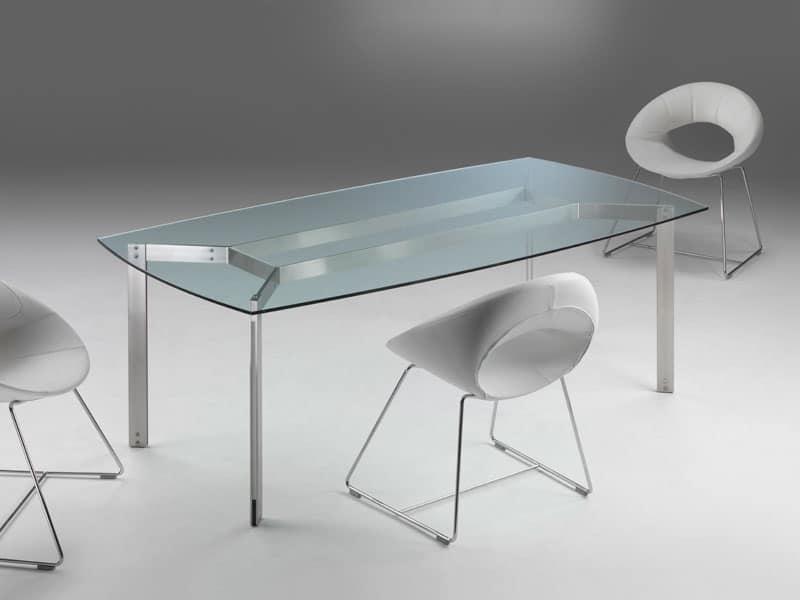 Tavolo da pranzo con piano in vetro trasparente  IDFdesign