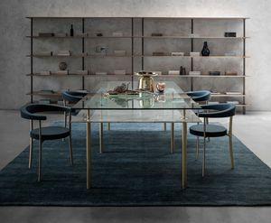 Legs Dining Table, Tavolo in cristallo e ottone