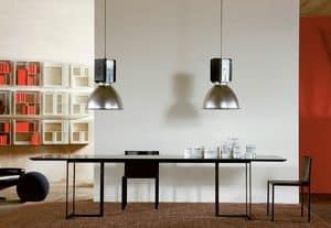 Leonardo, Tavolo dal design minimale, in metallo e cristallo, per la zona giorno