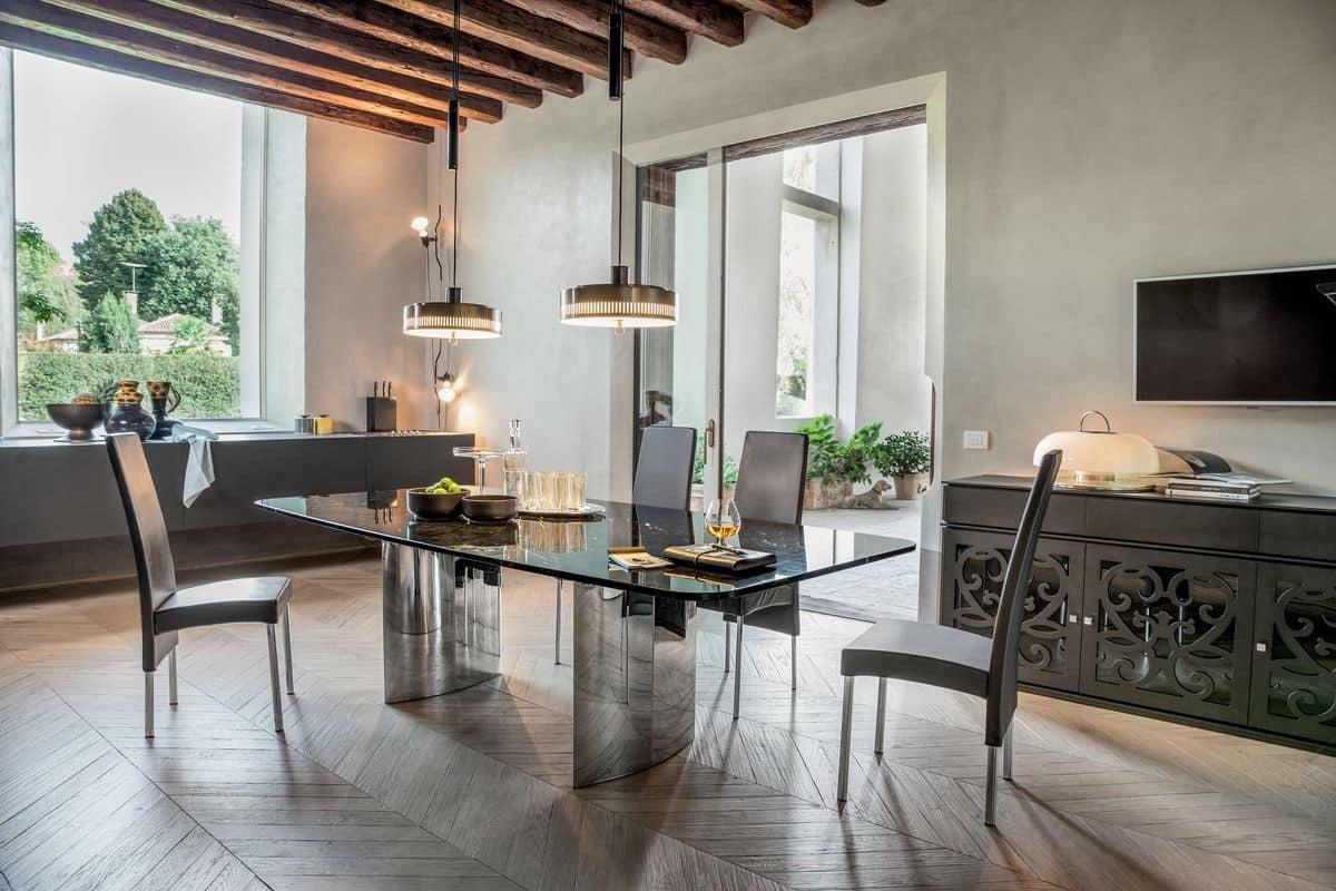 MANHATTAN, Tavolo allungabile o fisso, con top in vetro, legno, marmo o ceramica