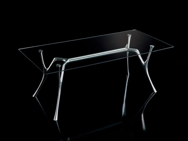 Pegaso 2, Tavolo design in alluminio con piano in vetro trasparente