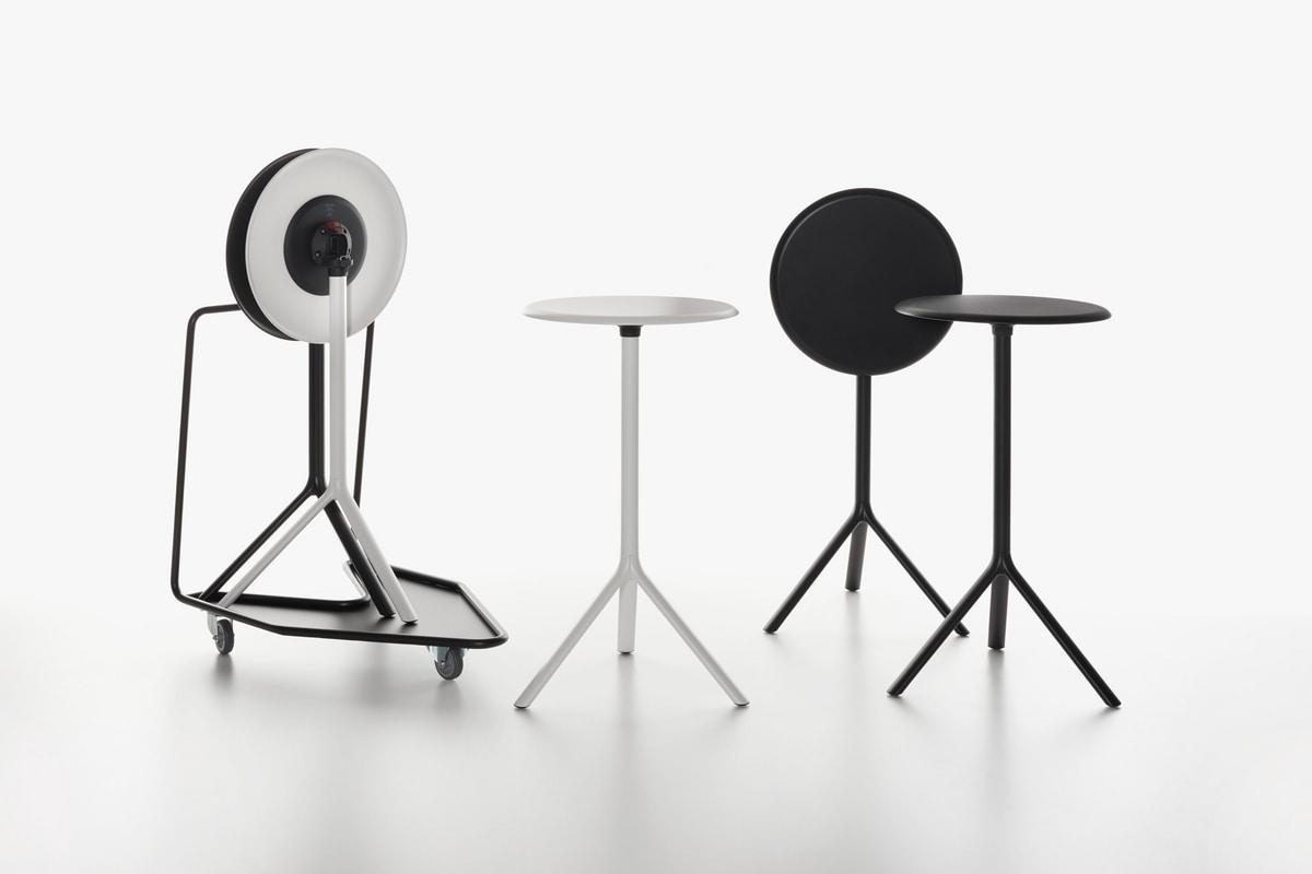 Miura | Tavolino alto, Tavolo sovrapponibile in acciaio, piano in laminato, per bar