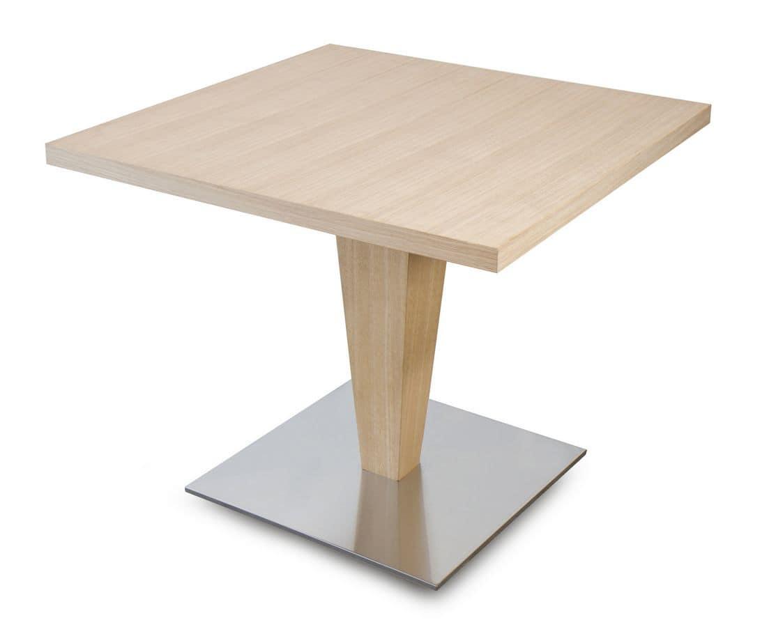 T Carol, Tavolino quadrato in legno, per bar e ristoranti