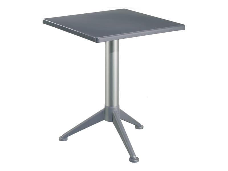 Tavolo 60x60 cod. 20/BG3A, Tavolino da bar con piano quadrato in polipropilene