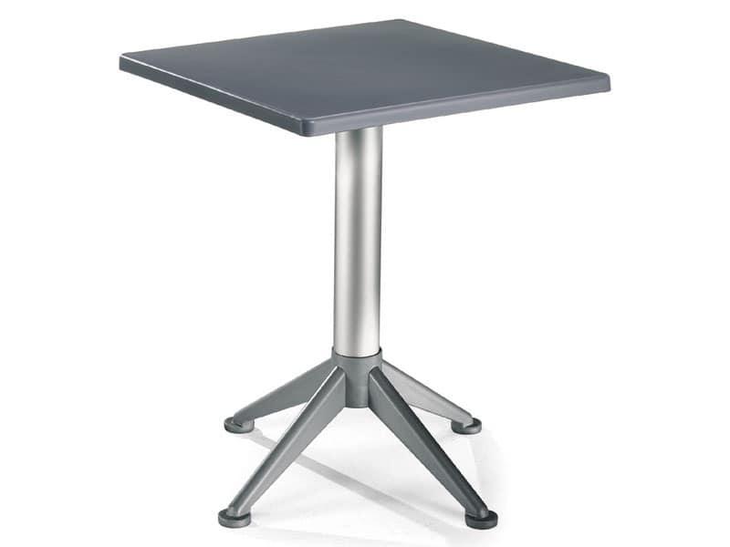 Tavolo 60x60 cod. 20/BG4A, Tavolino quadrato con base a 4 piedi in alluminio