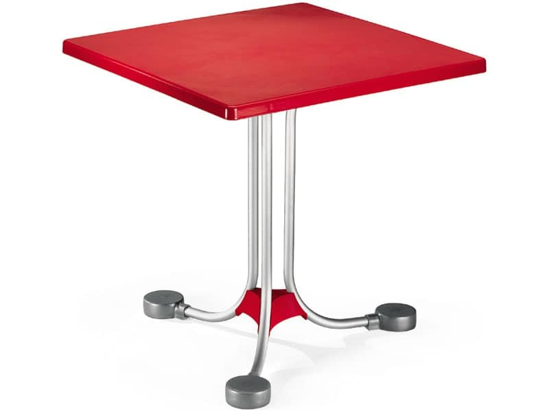 Tavolo 72x72 cod. 06, Tavolino quadrato con base a contrappesi in alluminio