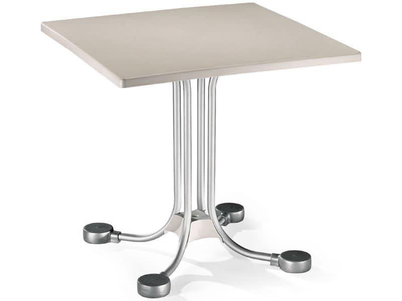 Tavolo 80x80 cod. 23, Tavolino da bar quadrato con contrappesi in alluminio