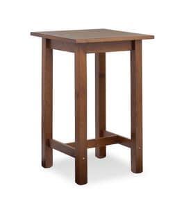 Tavolo Bar Quadrato, Tavolino alto interamente in pino, per bar rustico