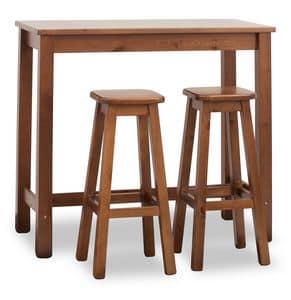 Tavolo Bar Rettangolare, Tavolo alto per bar, rettangolare, fatto in pino