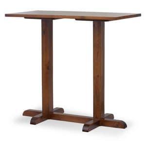 Tavolo Bar Torre alto 2, Tavolino da bar con 2 colonne, interamente in pino