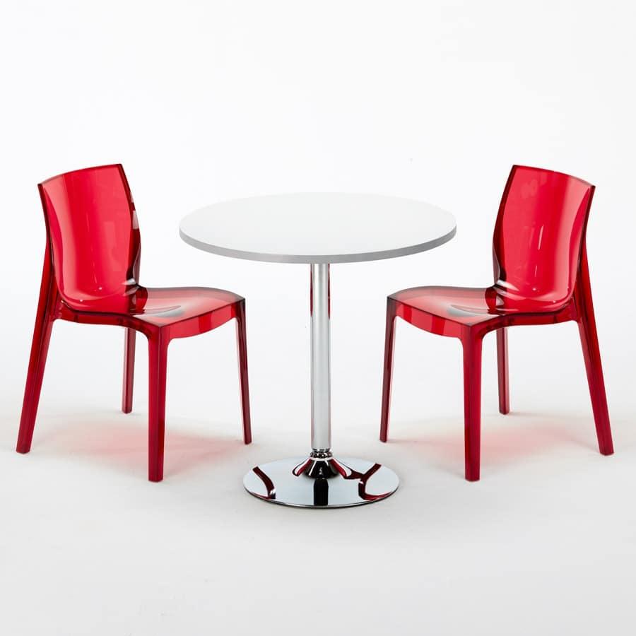 Tavolino Rotondo Con Sedie Trasparenti Per Bar E Hotel Idfdesign