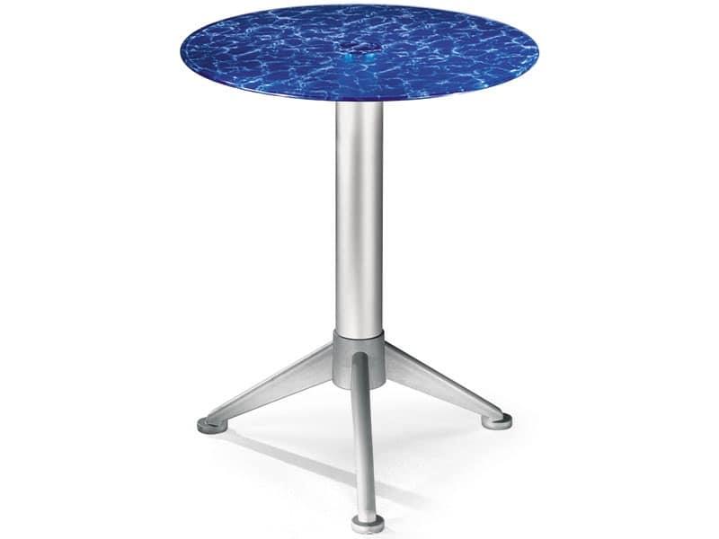 Tavolo Ø 60 cod. 05/BG3A, Tavolino con piano in vetro temperato colorato