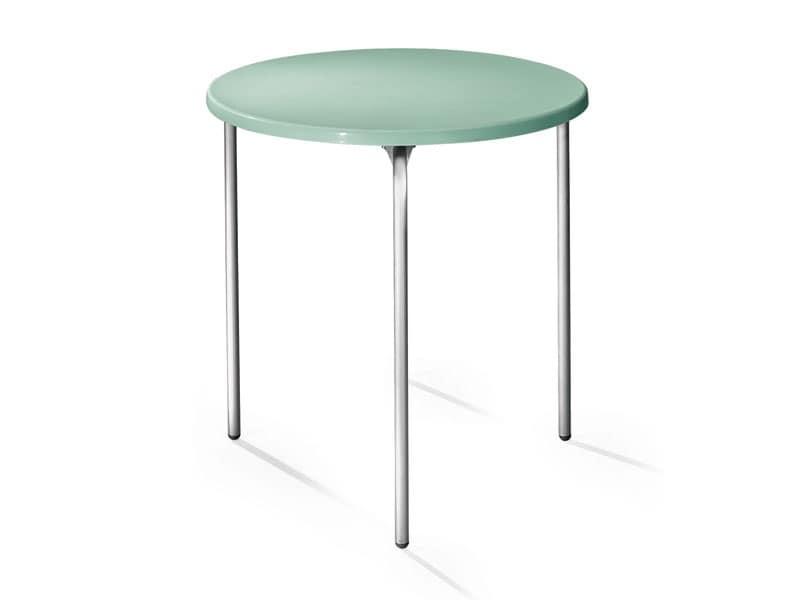 Tavolo Ø 72 cod. 01, Tavolino rotondo, piano in polipropilene, gambe in alluminio