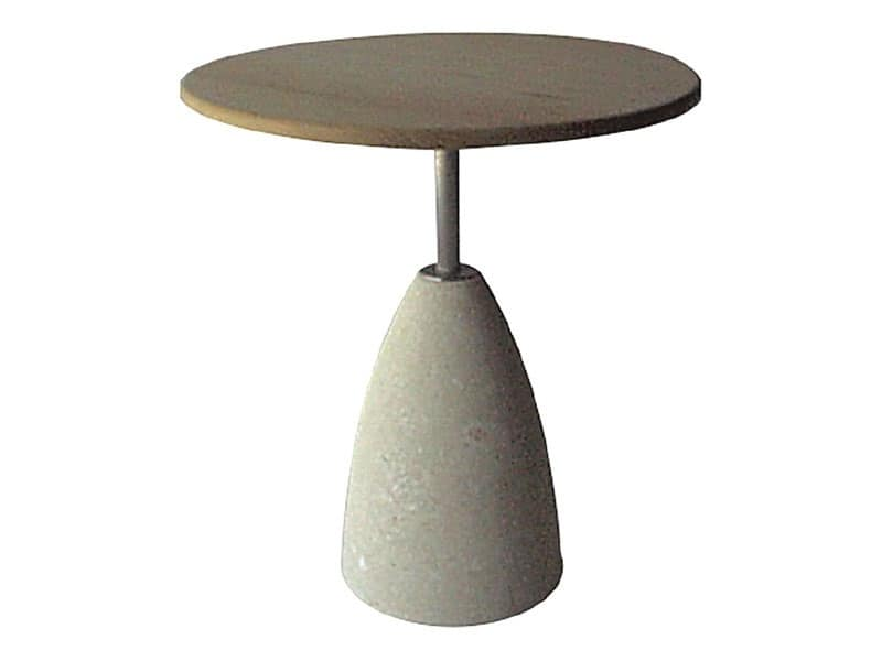 Element 1, Tavolino in pietra con piano in legno, per bar e pub