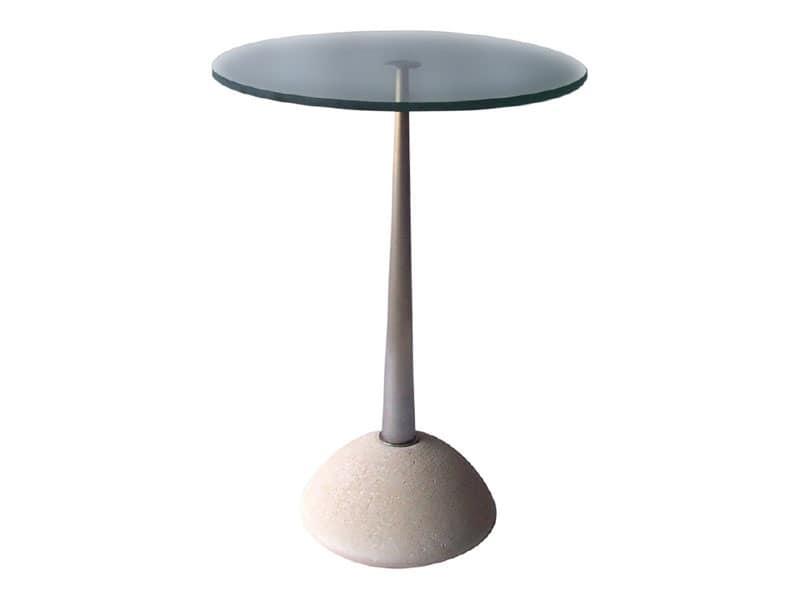 Memo, Tavolo rotondo in pietra e vetro, per bar e pub