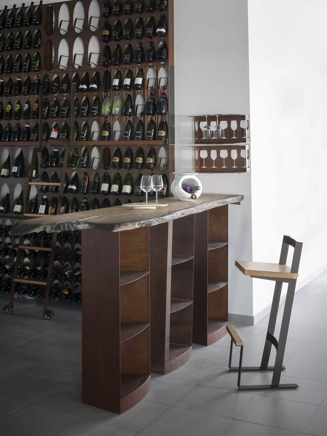 Tavolo Alto Per Sgabelli Con Piano In Legno Massello Idfdesign