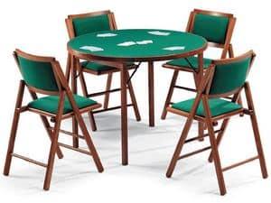Tavolo Gioco 111, Sedia 105IMB, Tavolo da gioco con panno verde, piano tondo