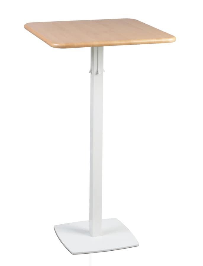 TOTEM 415, Tavolino alto per alberghi e bar, base quadrata in metallo
