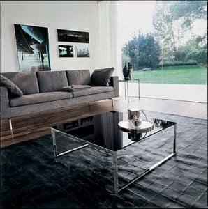 CENTRAL, Tavolino con struttura lineare, in vetro e metallo, per suite