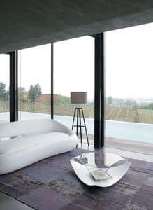 QUIET, Tavolino basso originale, in legno e vetro, per soggiorno
