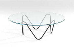 Suono, Tavolino con struttura in metallo e piano in cristallo