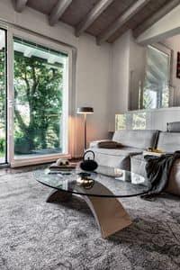 TUDOR, Tavolino basso in marmo e vetro, per sala attesa e ufficio