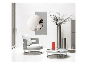 A.Round, Tavolino girevole per salotto, in legno e acciaio