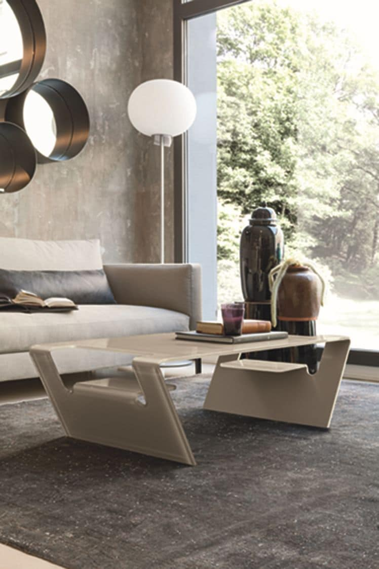 AIRONE TLC06, Tavolino in vetro per salotto moderno
