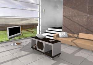 Amma, Tavolino lineare con ruote e piano in vetro