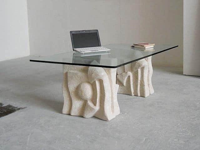 Archivio, Tavolino da divano, base in pietra, per sala attesa ufficio