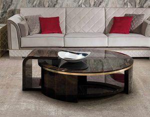 ART. 3337, Tavolino tondo con piano in vetro fum�