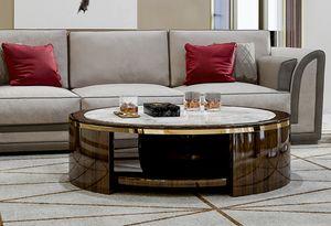 ART. 3364, Tavolino con piano rotondo in marmo Calacatta