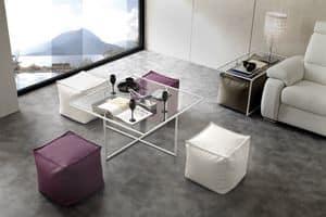 Art. 790 Magic Box, Tavolino con base in metallo, con piano in cristallo