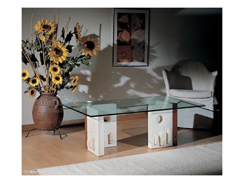 Celeste, Tavolino con struttura in pietra, stile moderno