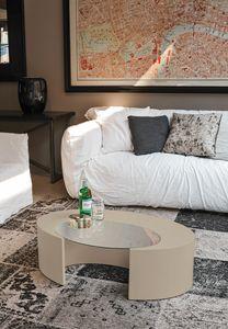 CICLOPE TL503, Tavolino ovale, con piano in vetro