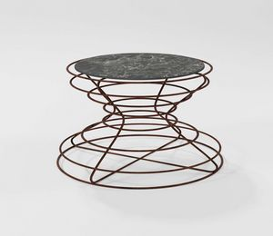 Clessidra grande, Tavolino con base in ferro lavorato a mano
