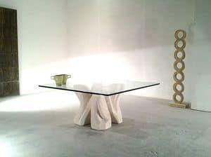 Dad�, Tavolino in pietra scolpita, con piano in cristallo, per salotto