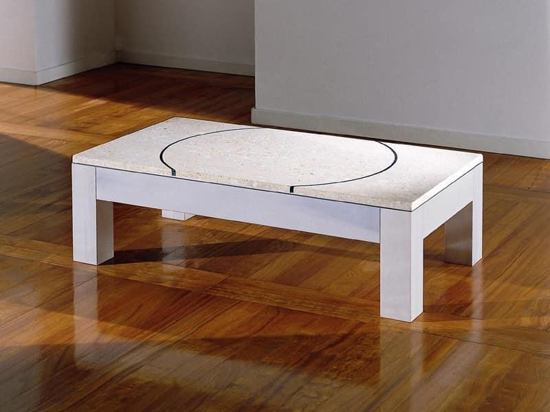 Didò, Tavolino da salotto con piano in pietra colorata e decorata