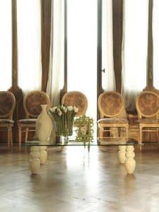 dl900 bali, Tavolino dal disegno lineare, piano in cristallo