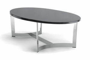 HUGO COFFEE TABLE 088 CO H30 - 088 NO H30, Tavolino ovale, con piano personalizzabile