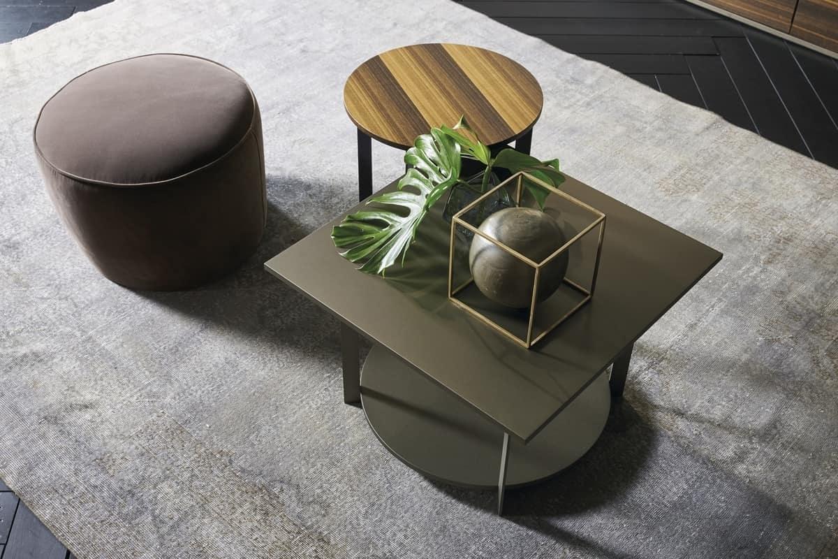 ICS quadrato, Elegante tavolino con piano quadrato, in legno e metallo