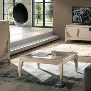 Luna LUNA5049, Tavolino quadrato con piano in vetro