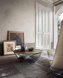 RAFFAELLO, Tavolino in vetro curvato e piani rivestiti in legno